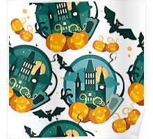 Vector halloween flat graphic banner with pumpkins and bat Poster