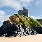 old historic Ballybunion castle on a cliff edge by morrbyte