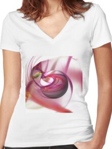 Abstract Red Globe Women's Fitted V-Neck T-Shirt