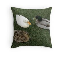 Chatting Ducks Throw Pillow