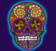 Winter Skull, Holly King, Pink with Turquoise glow by Vicky Stonebridge