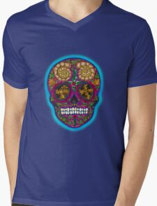 Winter Skull, Holly King, Pink with Turquoise glow Mens V-Neck T-Shirt