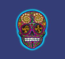 Winter Skull, Holly King, Pink with Turquoise glow Unisex T-Shirt
