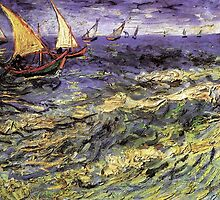 Seascape at Saintes-Maries by Vincent van Gogh. Landscape fine art oil painting. by naturematters