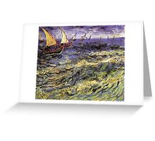 Seascape at Saintes-Maries by Vincent van Gogh. Landscape fine art oil painting. Greeting Card
