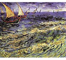 Seascape at Saintes-Maries by Vincent van Gogh. Landscape fine art oil painting. Photographic Print