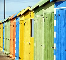 Seaside Beach Huts by Janis Read-Walters