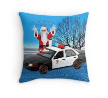 HO HO HOLD ON SEASONS GREETING HUMEROUS POLICE SANTA PILLOW AND OR TOTE BAG Throw Pillow