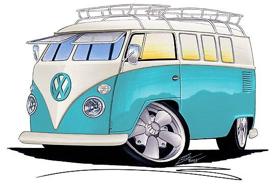 VW Splitty (Custom Blue) Camper Van by Richard Yeomans