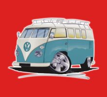 VW Splitty (Custom Blue) Camper Van One Piece - Long Sleeve