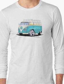 VW Splitty (Custom Blue) Camper Van Long Sleeve T-Shirt