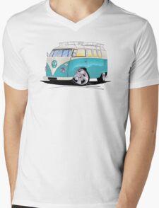 VW Splitty (Custom Blue) Camper Van Mens V-Neck T-Shirt