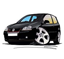 VW Golf GTi (Mk5) Black Photographic Print