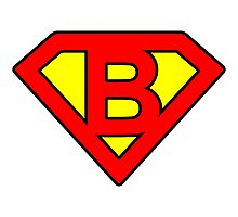 B letter in Superman style Photographic Print