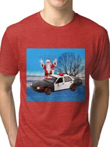HO HO HOLD ON SEASONS GREETING HUMEROUS POLICE SANTA PILLOW AND OR TOTE BAG Tri-blend T-Shirt