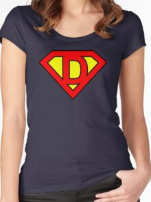 D letter in Superman style Women's Fitted Scoop T-Shirt
