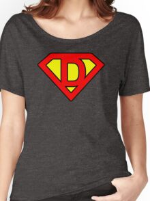 D letter in Superman style Women's Relaxed Fit T-Shirt