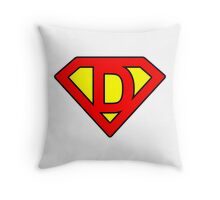 D letter in Superman style Throw Pillow