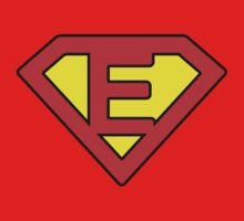E letter in Superman style Baby Tee