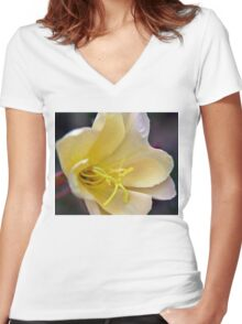Evening Primrose Flower A Women's Fitted V-Neck T-Shirt