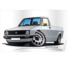 VW Caddy Silver Poster