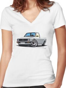 VW Caddy Silver Women's Fitted V-Neck T-Shirt