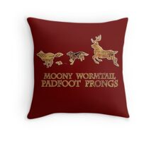 Harry Potter Marauder's Map: Moony, Wormtail, Padfoot & Prongs Throw Pillow