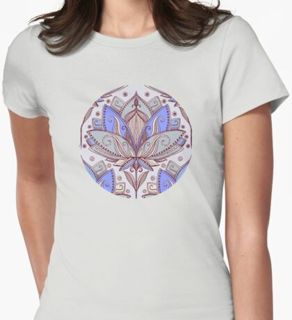Art Deco Lotus Rising 2 - sage grey & purple pattern Womens Fitted T-Shirt