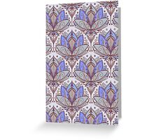 Art Deco Lotus Rising 2 - sage grey & purple pattern Greeting Card