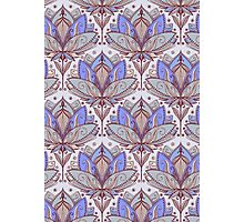 Art Deco Lotus Rising 2 - sage grey & purple pattern Photographic Print