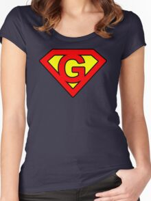 G letter in Superman style Women's Fitted Scoop T-Shirt