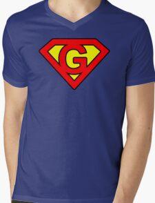 G letter in Superman style Mens V-Neck T-Shirt