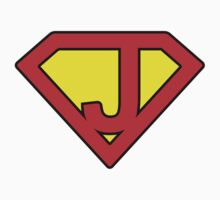 J letter in Superman style Kids Tee