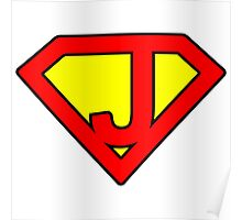 J letter in Superman style Poster