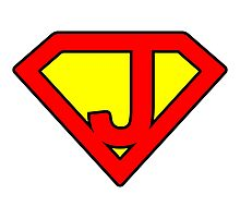 J letter in Superman style Photographic Print