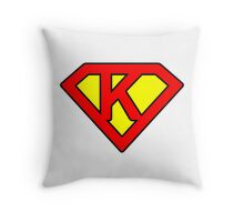 K letter in Superman style Throw Pillow