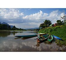 Boats of the Nam Song, Laos Photographic Print