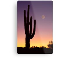 Early Morning Southwest Desert Moon Glow Metal Print
