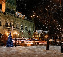 Chester Town Hall Snow falling 2 by Harri