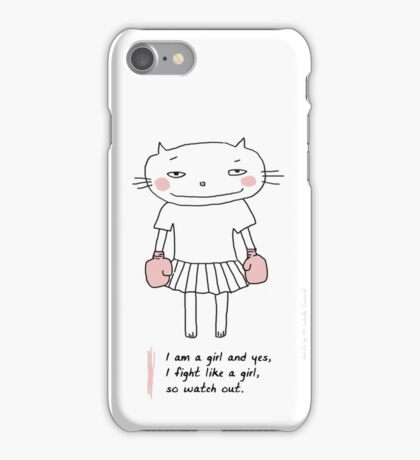 Fight like a girl / Cat doodle iPhone Case/Skin