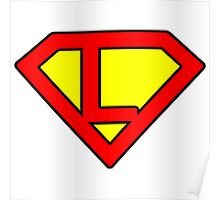 L letter in Superman style Poster