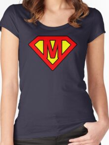M letter in Superman style Women's Fitted Scoop T-Shirt