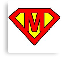 M letter in Superman style Canvas Print