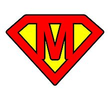 M letter in Superman style Photographic Print