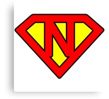 N letter in Superman style Canvas Print