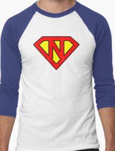 N letter in Superman style Men's Baseball ¾ T-Shirt