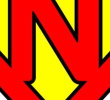N letter in Superman style Sticker