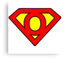 O letter in Superman style Canvas Print