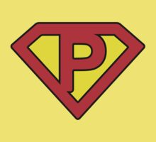 P letter in Superman style Baby Tee