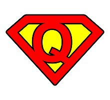 Q letter in Superman style Photographic Print